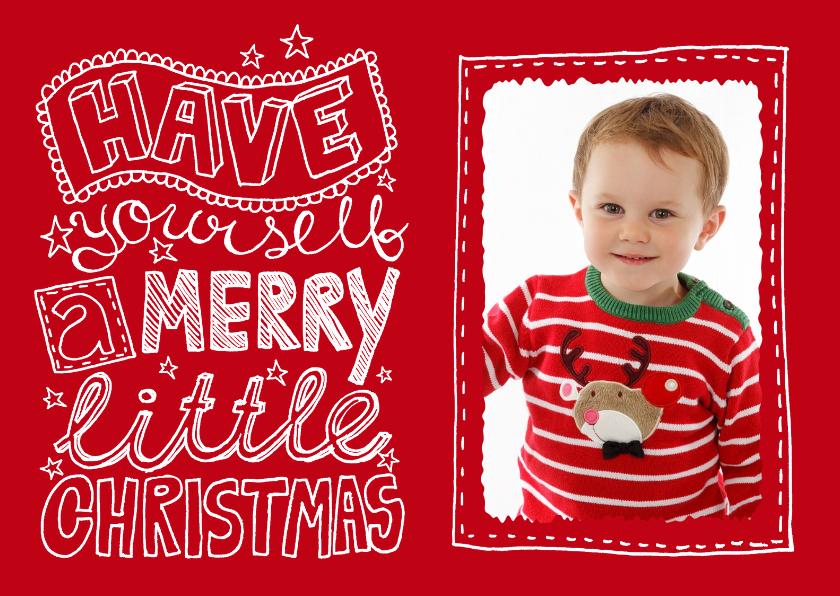 Kerstkaarten - Kerstkaart rood tekst & foto