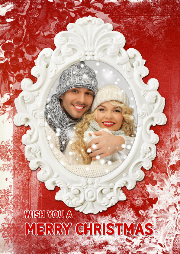 Kerstkaarten - Kerstkaart rood wit - SG