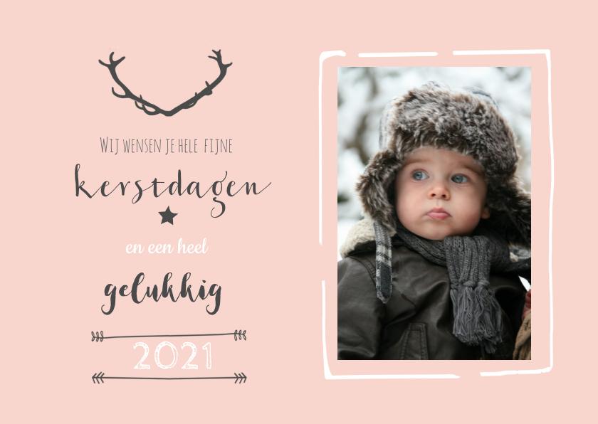 Kerstkaarten - Kerstkaart roze foto gewei - BC