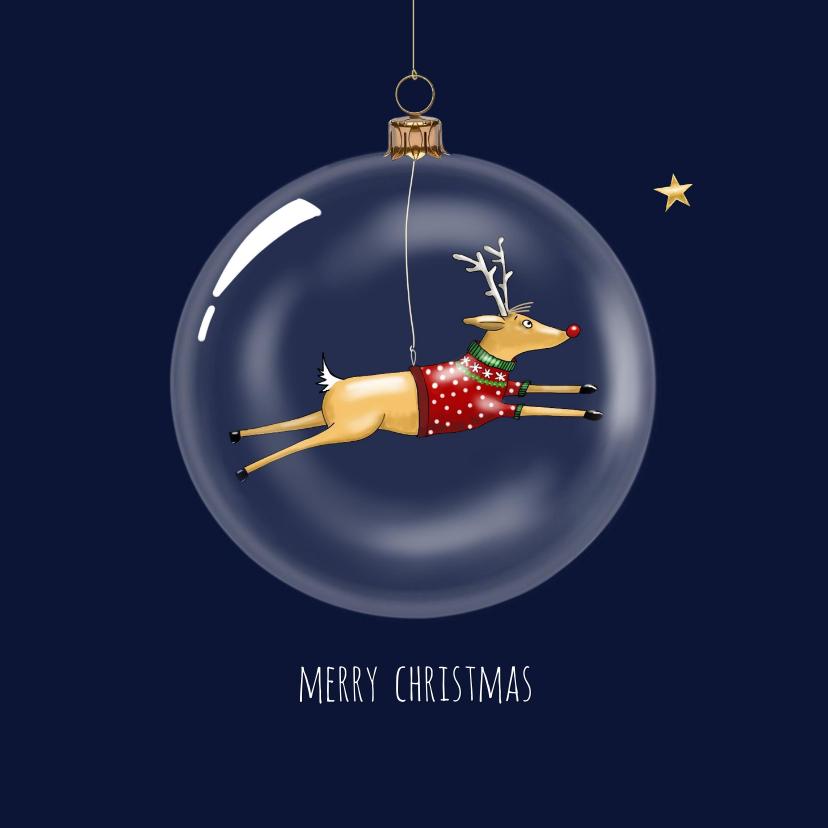 Kerstkaarten - Kerstkaart - Rudolph in glazen kerstbal