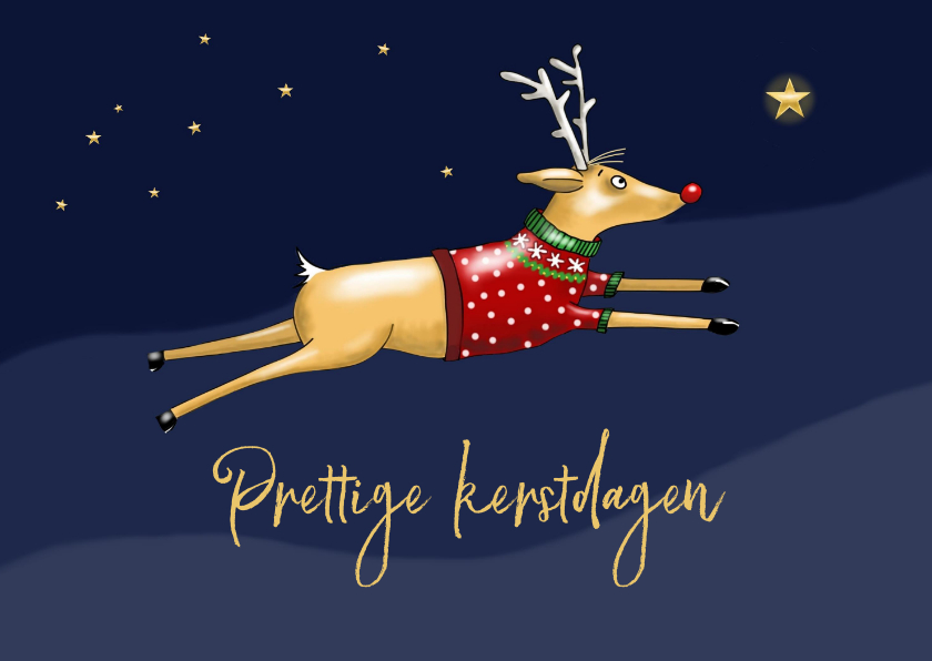 Kerstkaarten - kerstkaart - Rudolph tussen de sterren