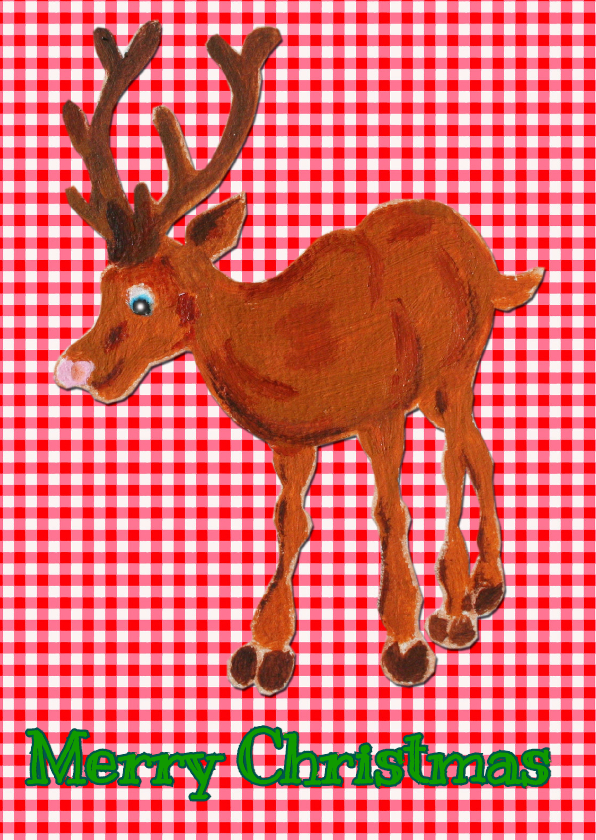 Kerstkaarten - Kerstkaart Ruitje Rudolph