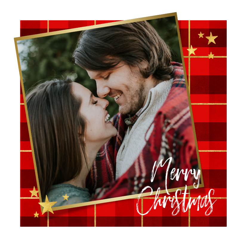 Kerstkaarten - Kerstkaart ruitpatroon foto Merry Christmas & gouden sterren