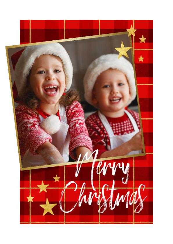 Kerstkaarten - Kerstkaart ruitpatroon met goud 'Merry Christmas' en foto