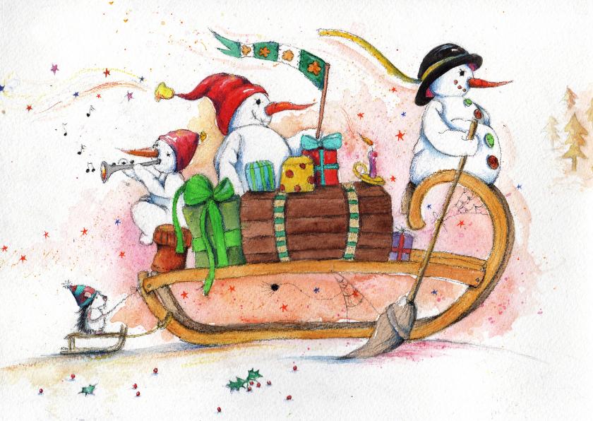 Kerstkaarten - Kerstkaart samen op de slee