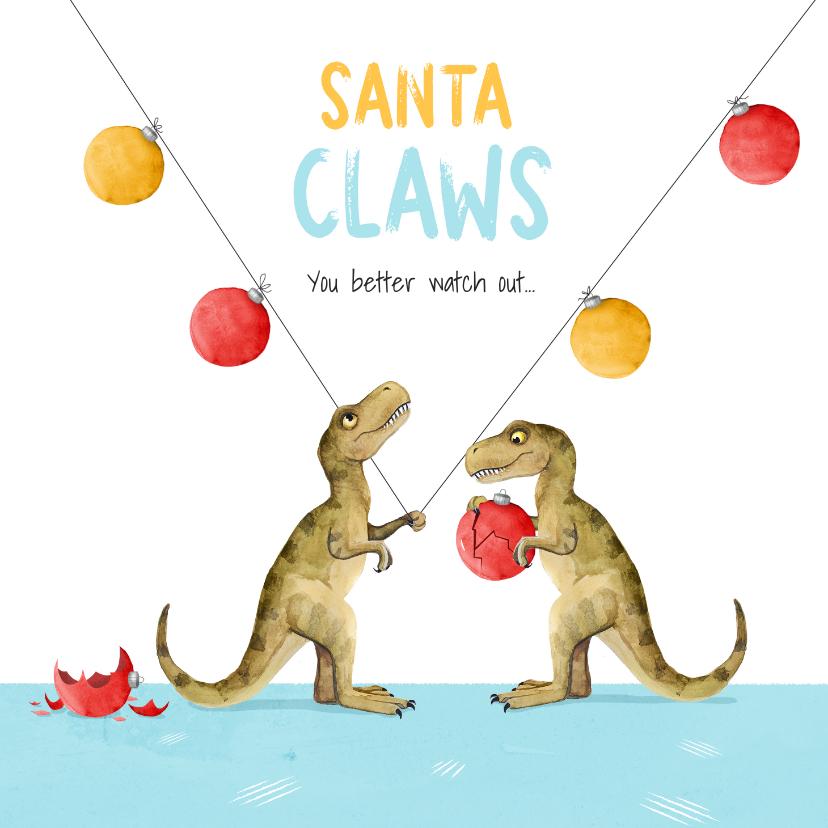 Kerstkaarten - Kerstkaart santa claws dino kerstballen