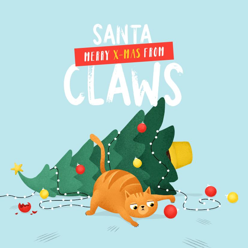 Kerstkaarten - Kerstkaart santa claws kat boom humor illustratie