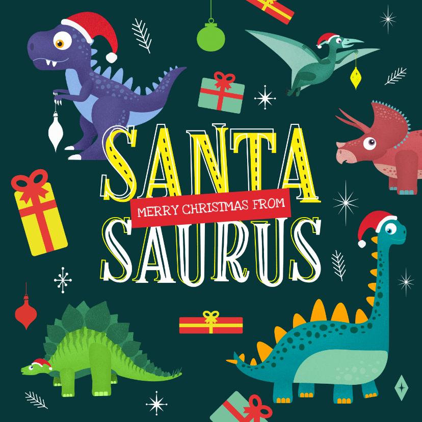 Kerstkaarten - Kerstkaart Santasaurus dino vrolijk cadeautjes crazy