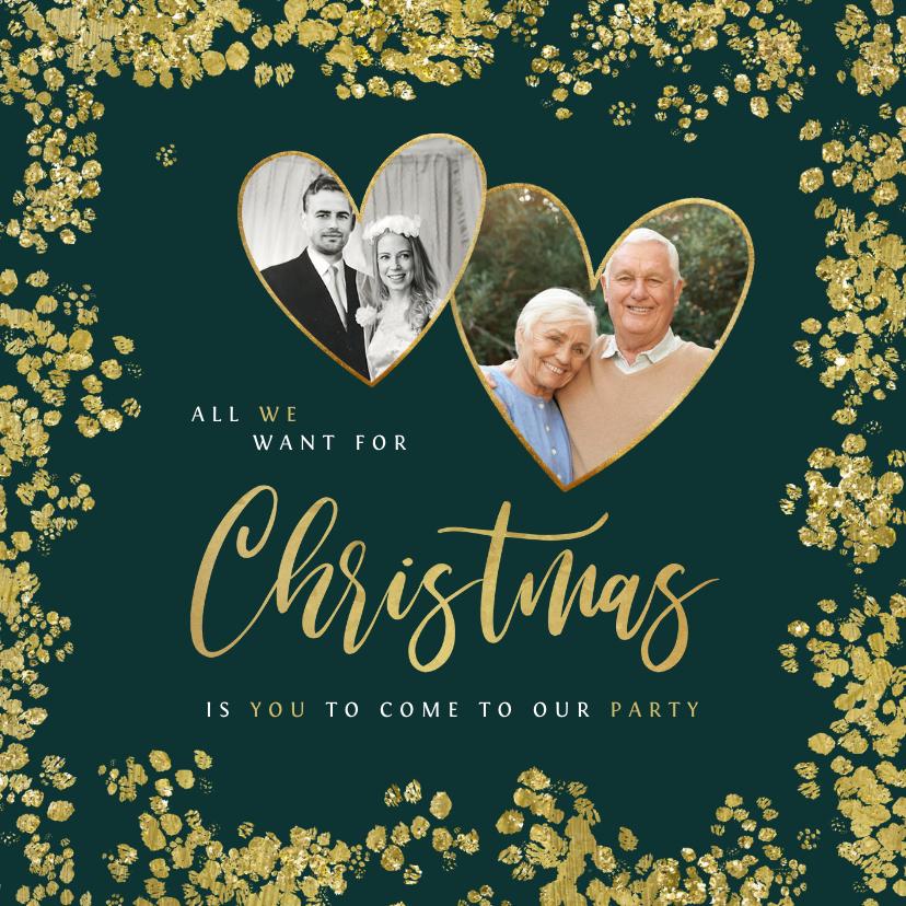 Kerstkaarten - Kerstkaart save the date jubileum goud christmas