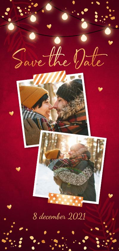 Kerstkaarten - Kerstkaart Save the Date rood confetti goudlook