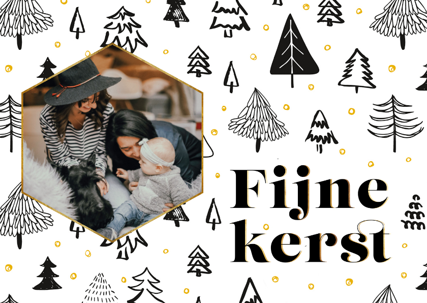 Kerstkaarten - Kerstkaart Scandinavische bomen en foto