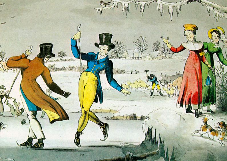 Kerstkaarten - Kerstkaart schaatsen 1820