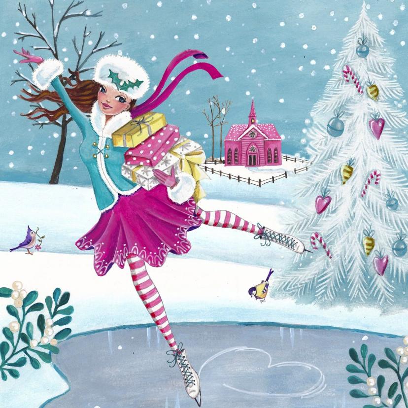 Kerstkaarten - Kerstkaart Schaatsen Illustratie