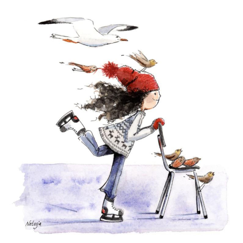 Kerstkaarten - Kerstkaart schaatsen met Nadia