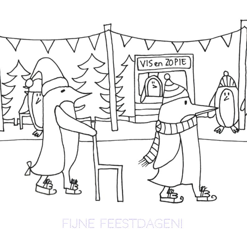 Kerstkaarten - Kerstkaart schaatsende pingiuns