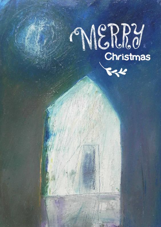 Kerstkaarten - Kerstkaart schilderij winterhuis