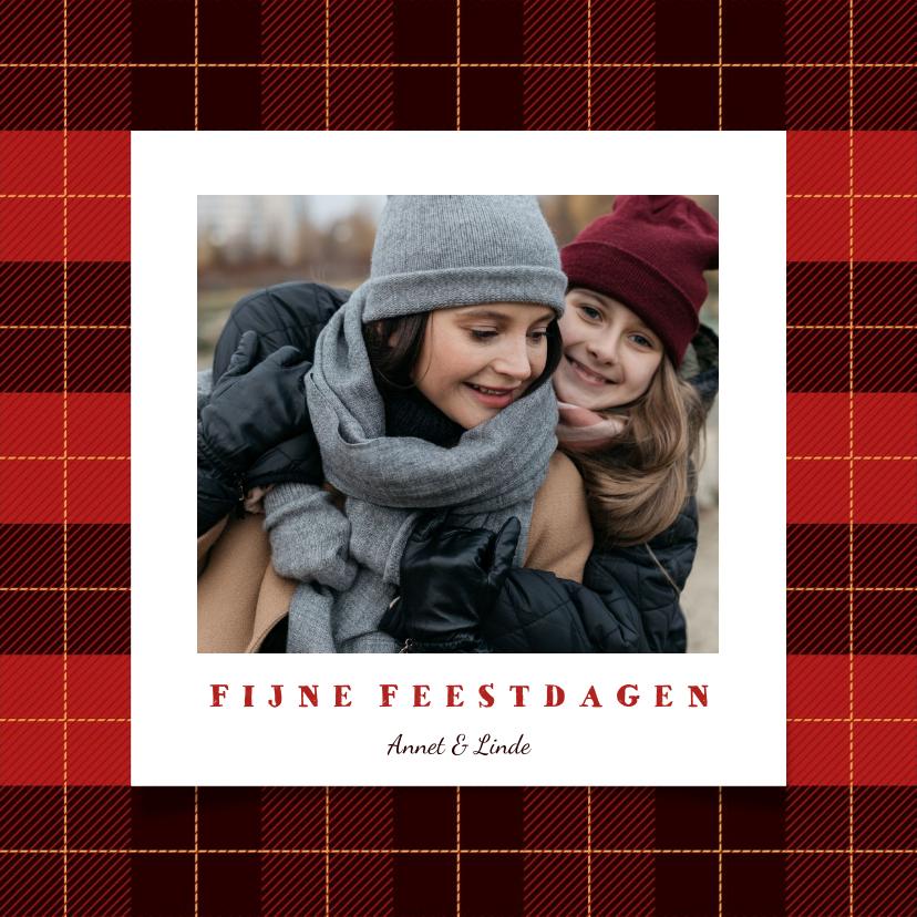 Kerstkaarten - Kerstkaart schots ruitpatroon met foto en tekst