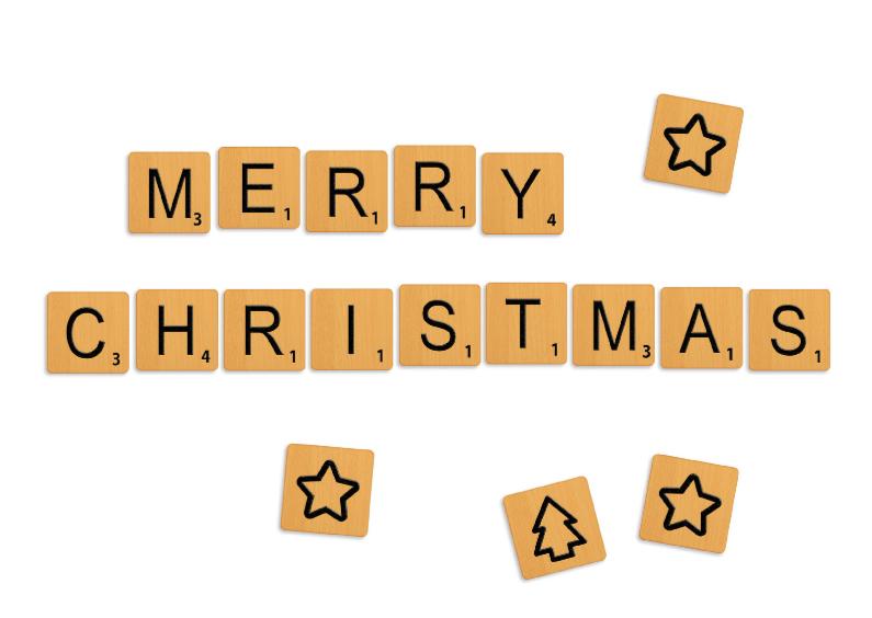 Kerstkaarten - Kerstkaart Scrabble steentjes