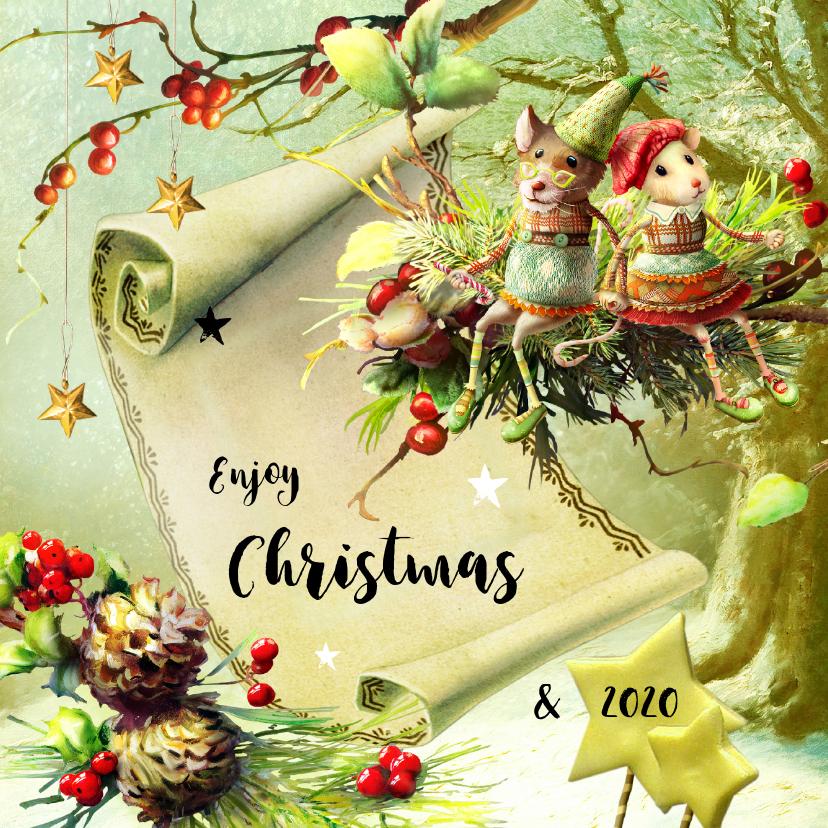 Kerstkaarten - Kerstkaart scrapbook kerstkaart met muisjes bos