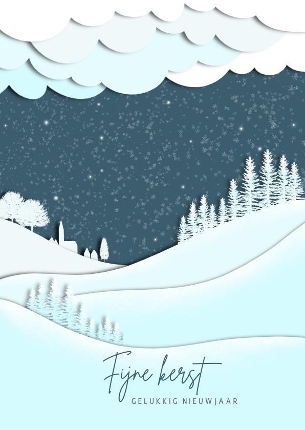 Kerstkaarten - Kerstkaart silhouet landschap blauw-wit
