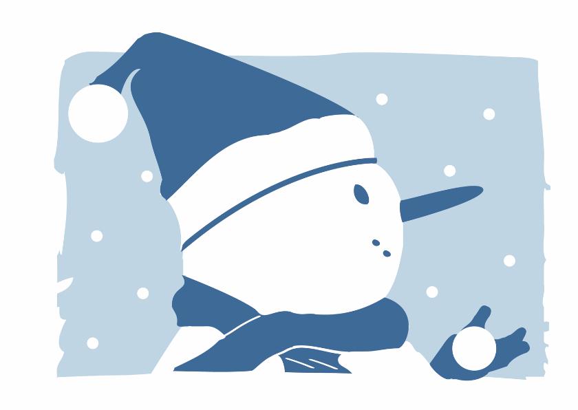 Kerstkaarten - Kerstkaart silhouet sneeuwpop