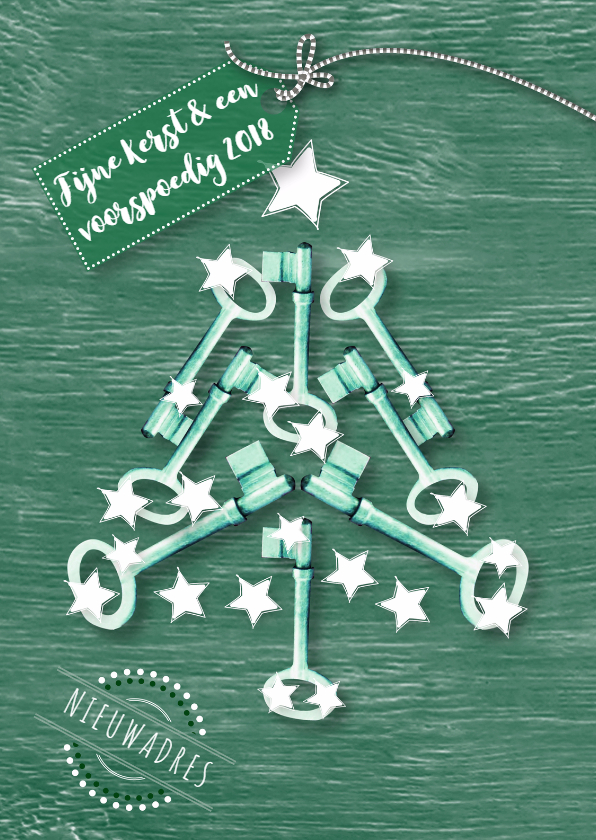 Kerstkaarten - Kerstkaart sleutels kerstboom