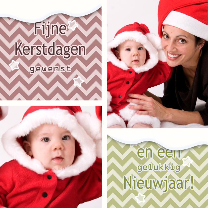 Kerstkaarten - Kerstkaart Sneeuw en Zigzag - BK