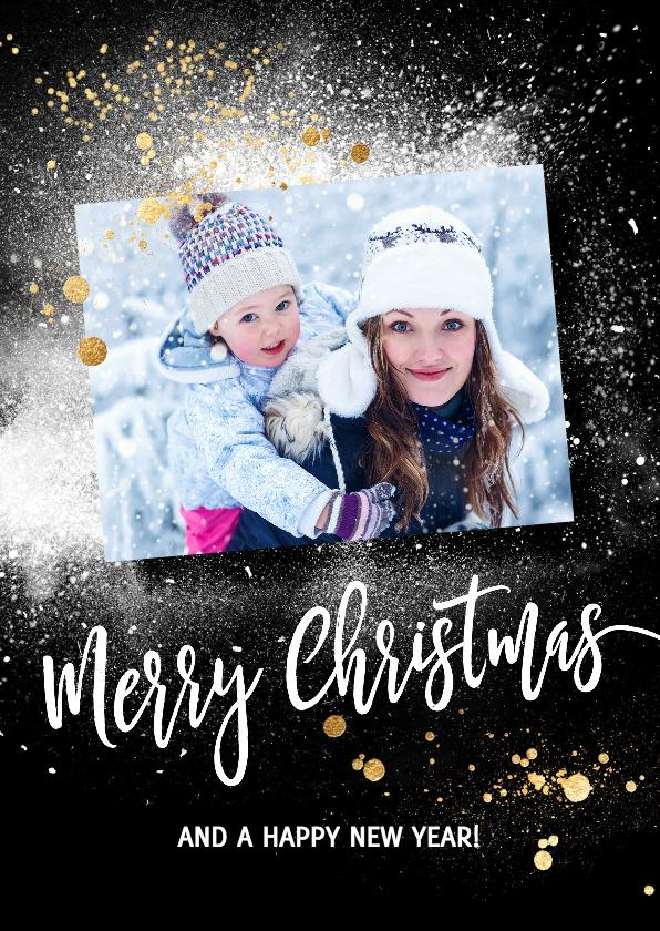 Kerstkaarten - Kerstkaart sneeuw foto op zwart