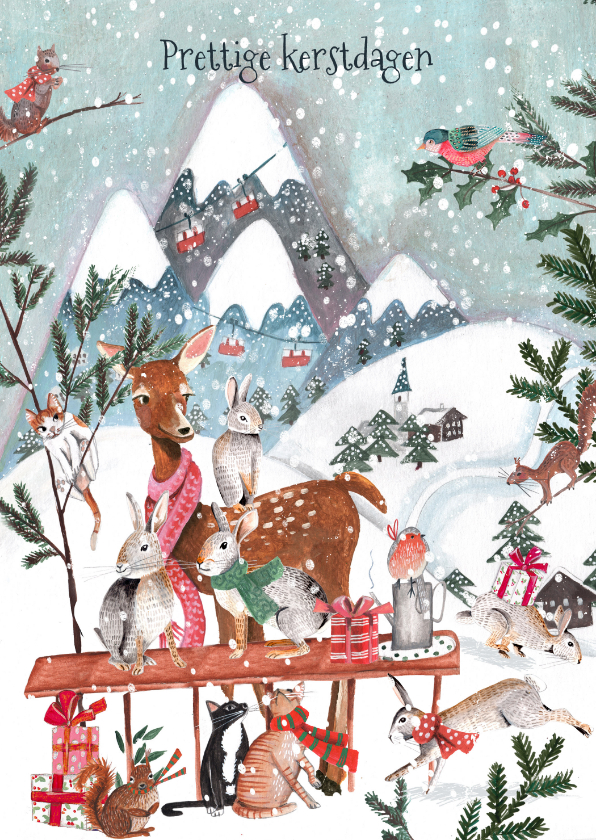 Kerstkaarten - Kerstkaart sneeuw landschap met bos dieren