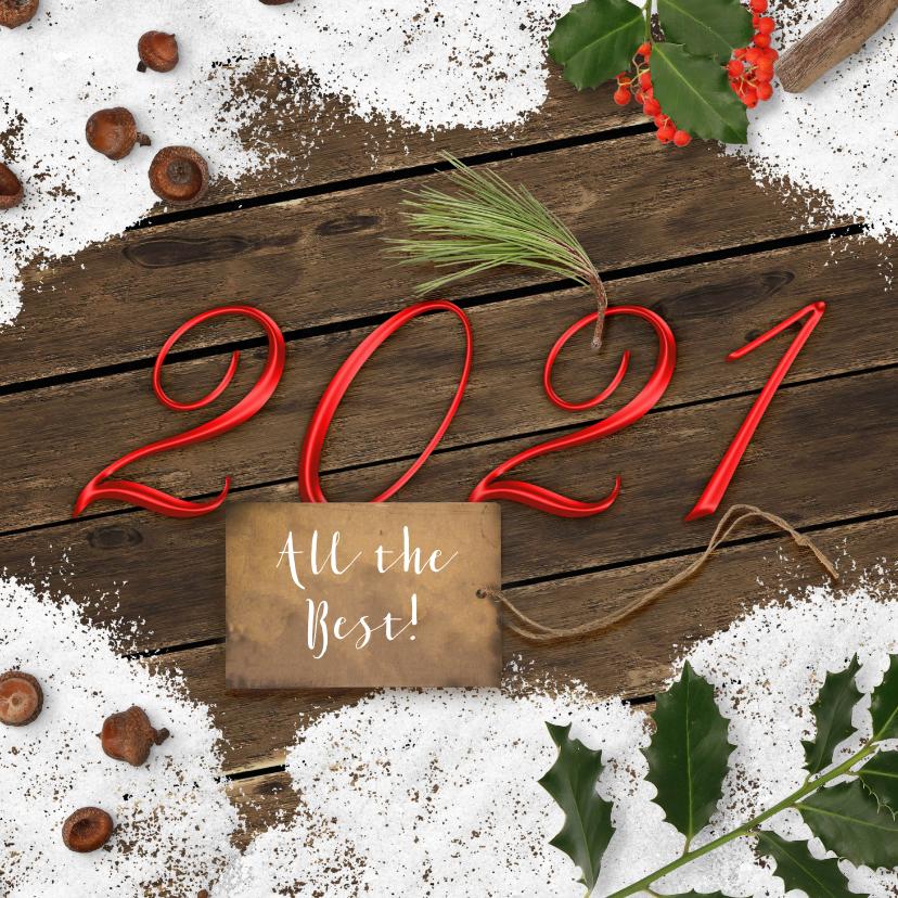 Kerstkaarten - Kerstkaart sneeuw op hout 2021
