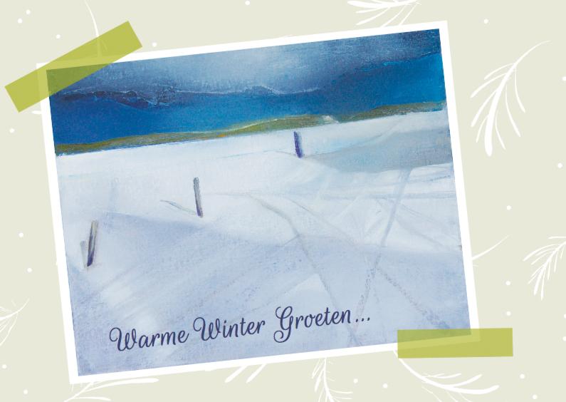 Kerstkaarten - Kerstkaart sneeuw strand