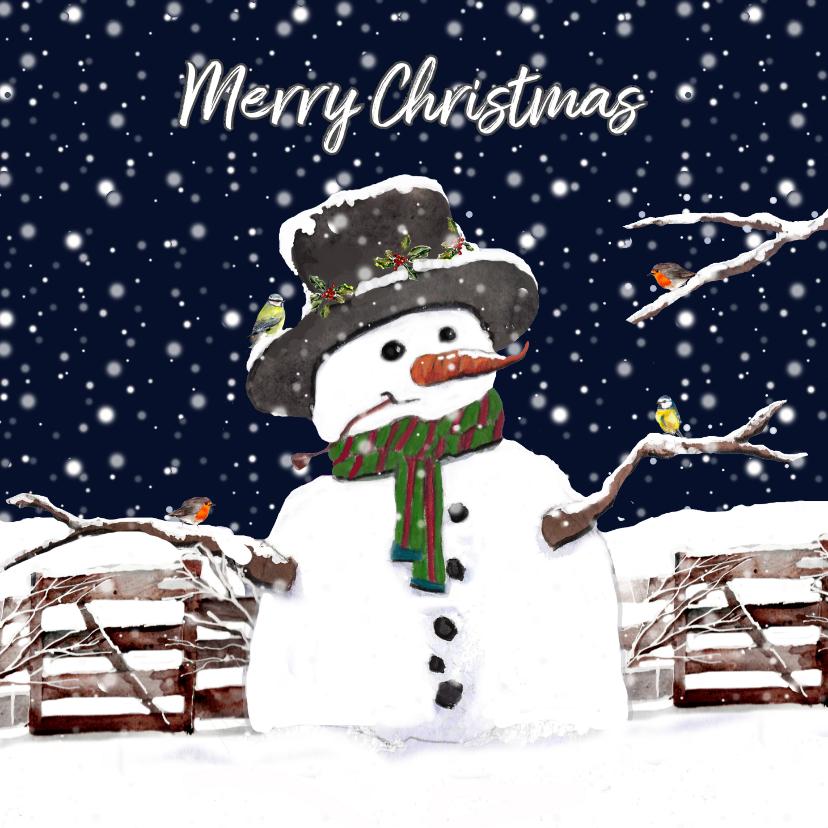 Kerstkaarten - Kerstkaart sneeuwpop in de sneeuw