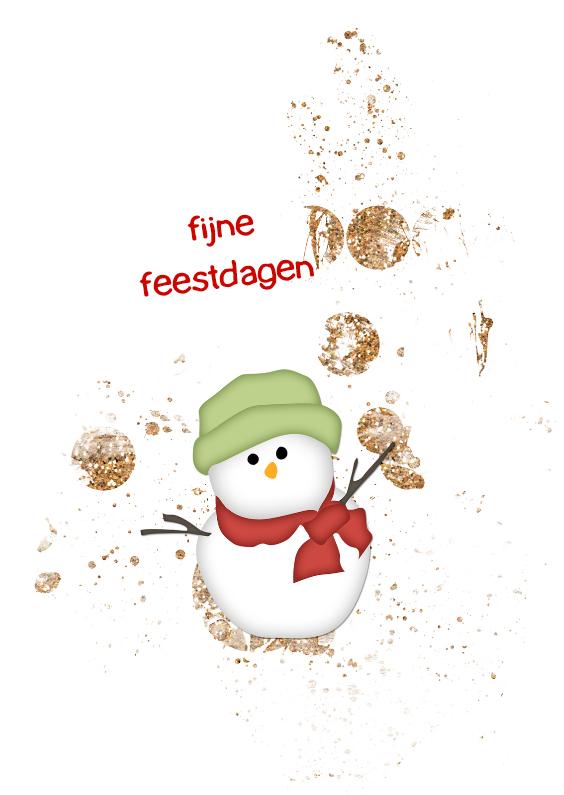 Kerstkaarten - Kerstkaart Sneeuwpop - JD