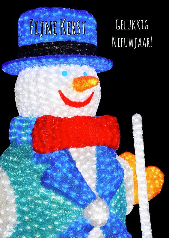 Kerstkaarten - Kerstkaart Sneeuwpop lampjes OT