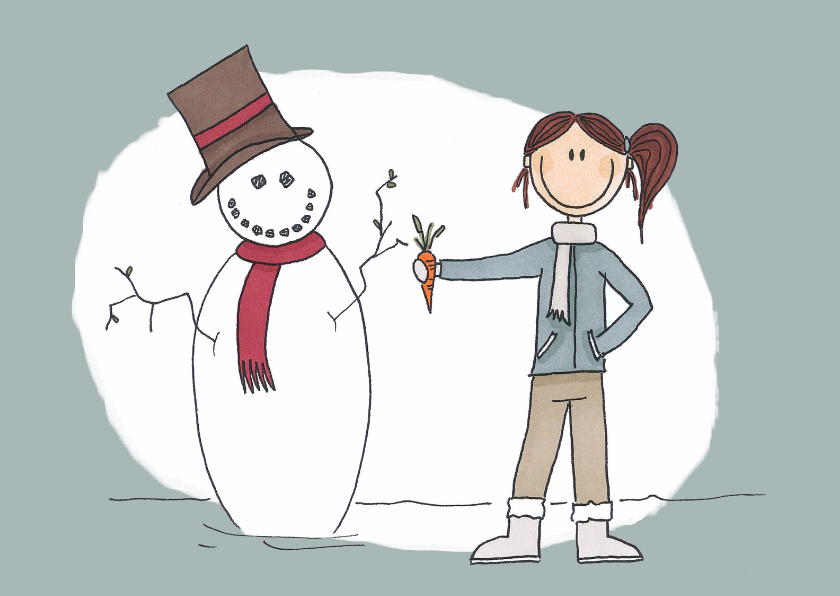 Kerstkaarten - Kerstkaart Sneeuwpop - LFZ