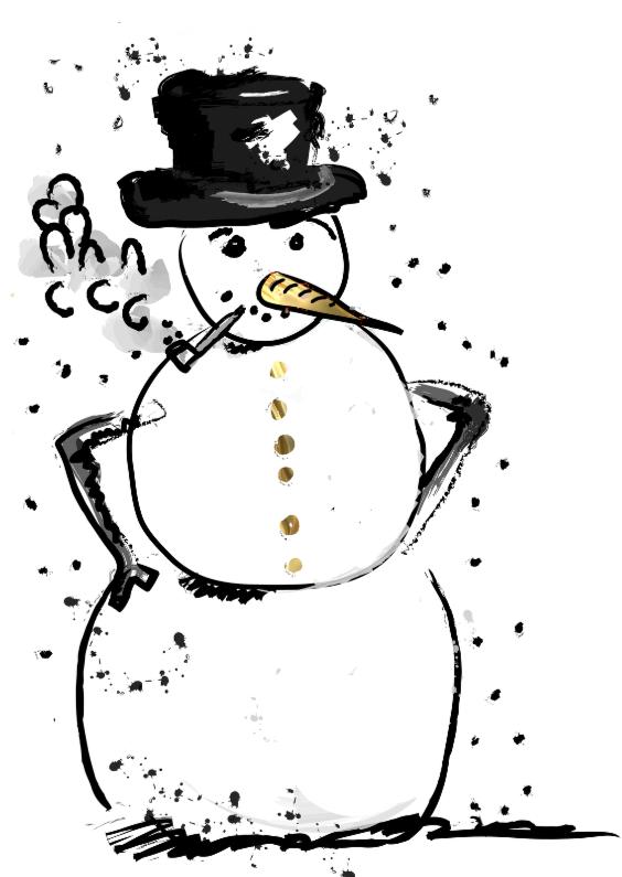Kerstkaarten - kerstkaart sneeuwpop sterren