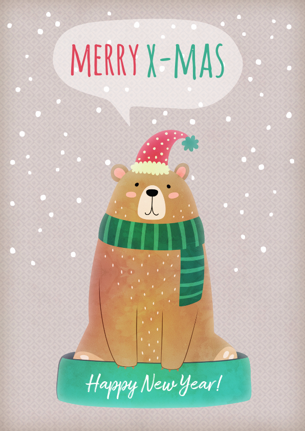 Kerstkaarten - Kerstkaart staand beer met muts