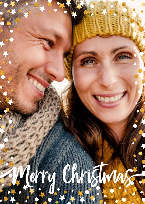 Kerstkaarten - Kerstkaart staand gouden sterren met confetti en foto