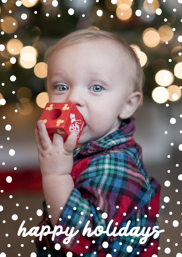Kerstkaarten - Kerstkaart staand happy holidays met confetti sneeuwvlokken