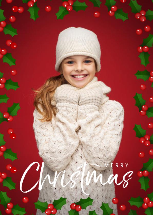 Kerstkaarten - Kerstkaart staand met grote foto en hulst kader