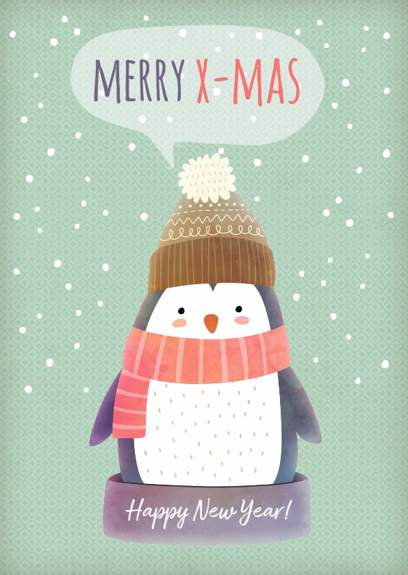 Kerstkaarten - Kerstkaart staand pinguïn met muts