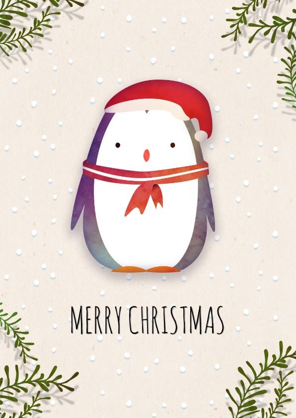 Kerstkaarten - Kerstkaart staand pinguïn