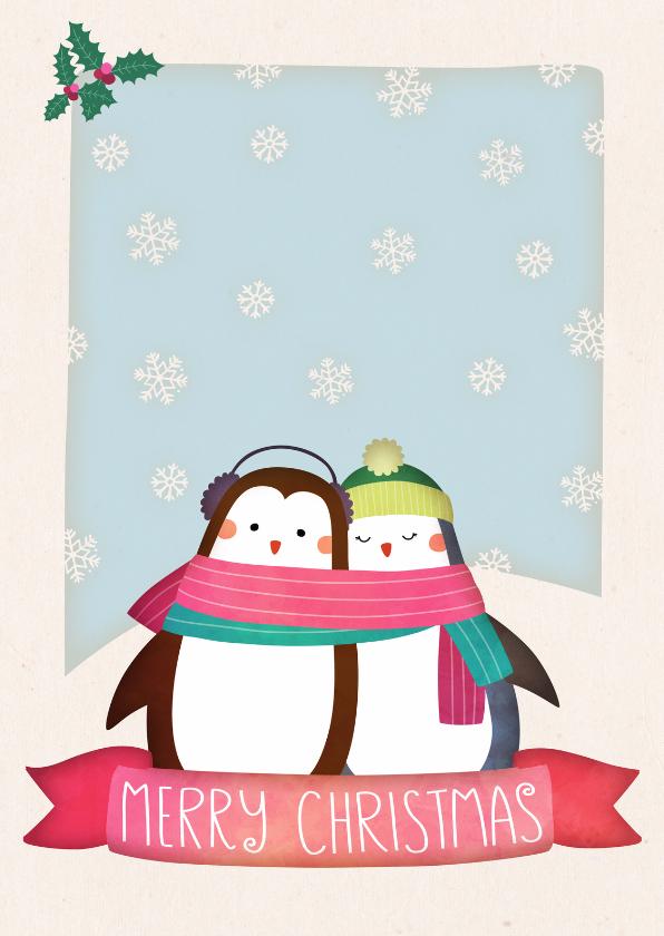 Kerstkaarten - Kerstkaart staand pinguïns
