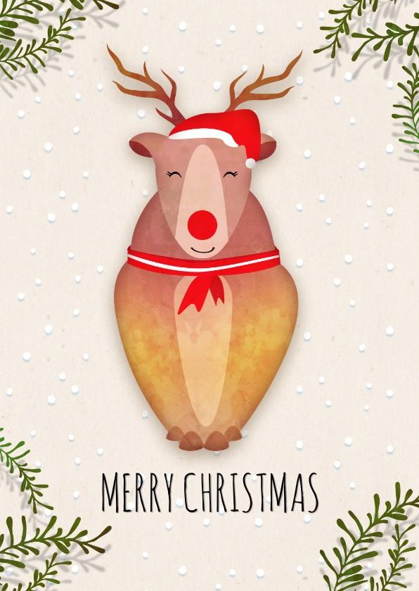 Kerstkaarten - Kerstkaart staand rendier - Rudolph the red nosed reindeer