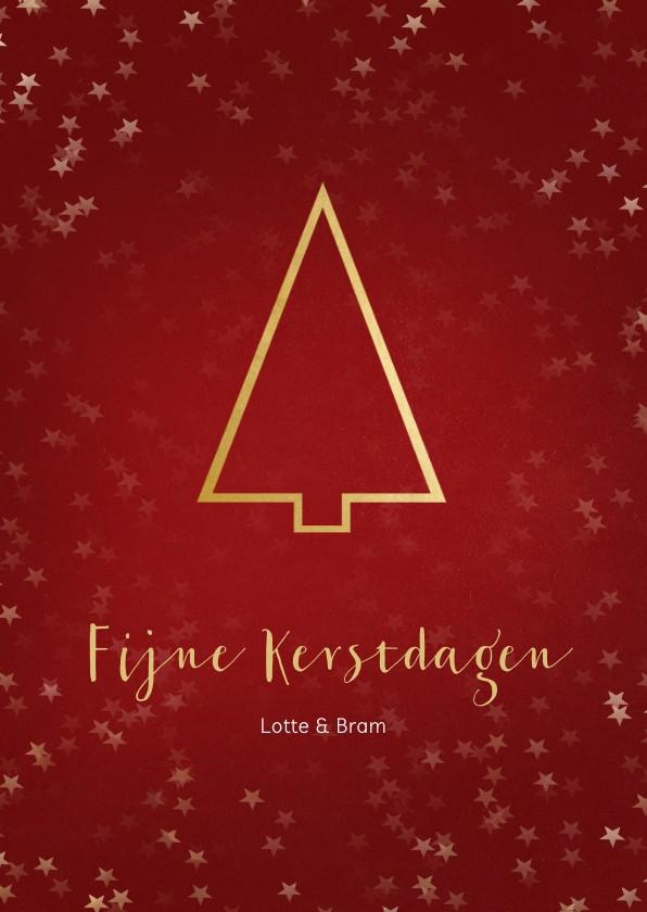 Kerstkaarten - Kerstkaart staand rood gouden kerstboom - Een gouden kerst