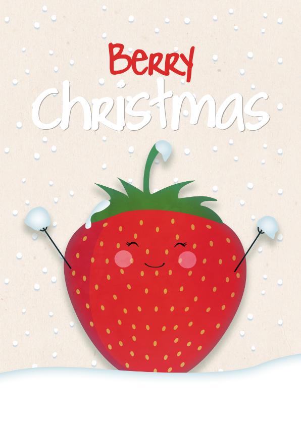 Kerstkaarten - Kerstkaart staand strawberry Berry Christmas