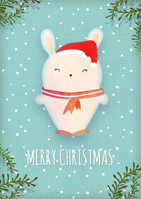 Kerstkaarten - Kerstkaart staand wit konijntje