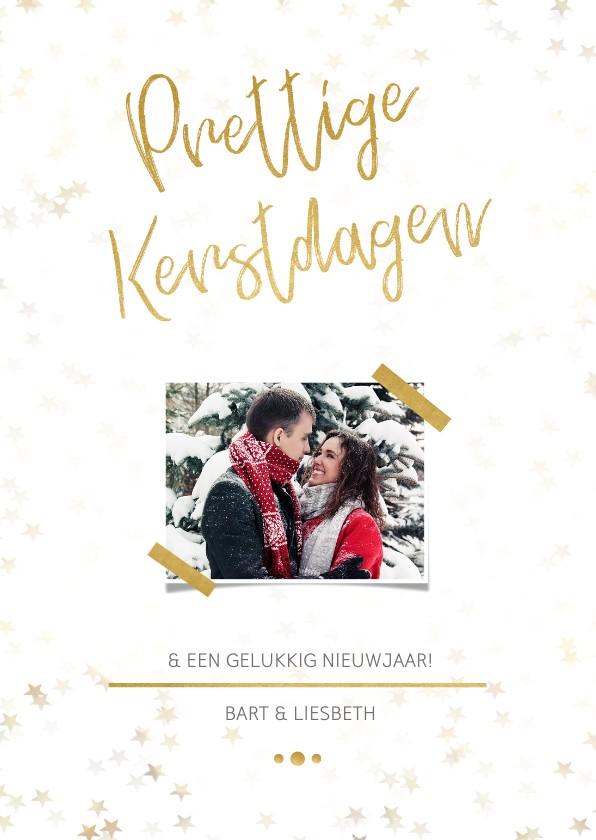 Kerstkaarten - Kerstkaart staand wit met foto en goud - Een gouden kerst
