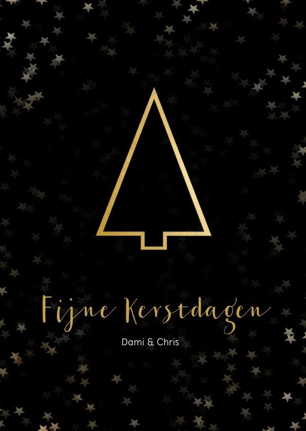 Kerstkaarten - Kerstkaart staand zwart gouden kerstboom - Een gouden kerst