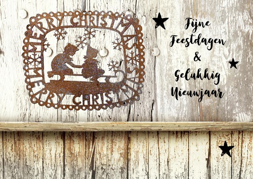 Kerstkaarten - Kerstkaart Steigerhout en roestig ijzer Merry Christmas